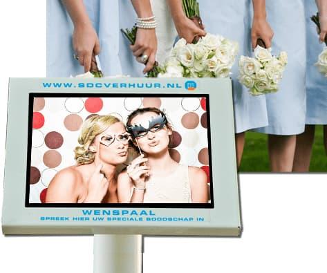 Bruiloftzuil, een digitaal videogastenboek, laat uw gasteb een videoboodschap inspreken
